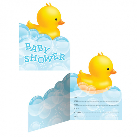 BABY SHOWER BUBBLE BATH INVITATIONS - PACK OF 8