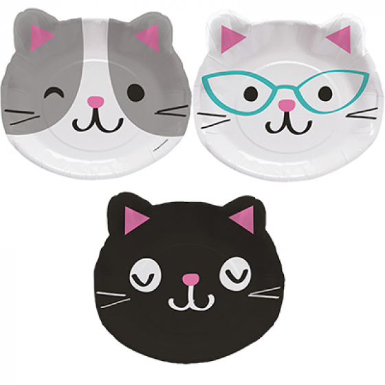 PURRFECT CAT SHAPED DINNER PLATES - PACK OF 8