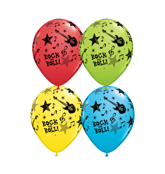 BALLOONS LATEX - ROCK N ROLL PACK OF 6