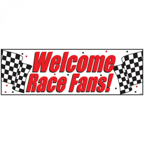 CHECKERED FLAG \'WELCOME RACE FANS!\' GIANT BANNER
