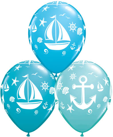 BALLOONS LATEX - NAUTICAL SAILBOAT PACK OF 6