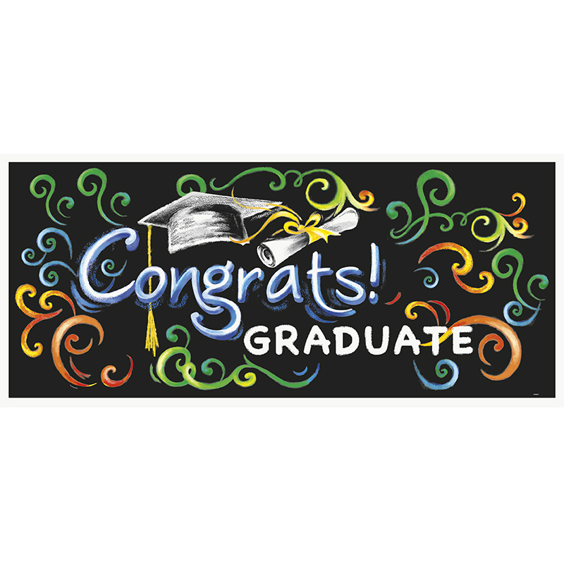 GIANT BANNER - GRADUATION CHALK DESIGN CONRATULATIONS