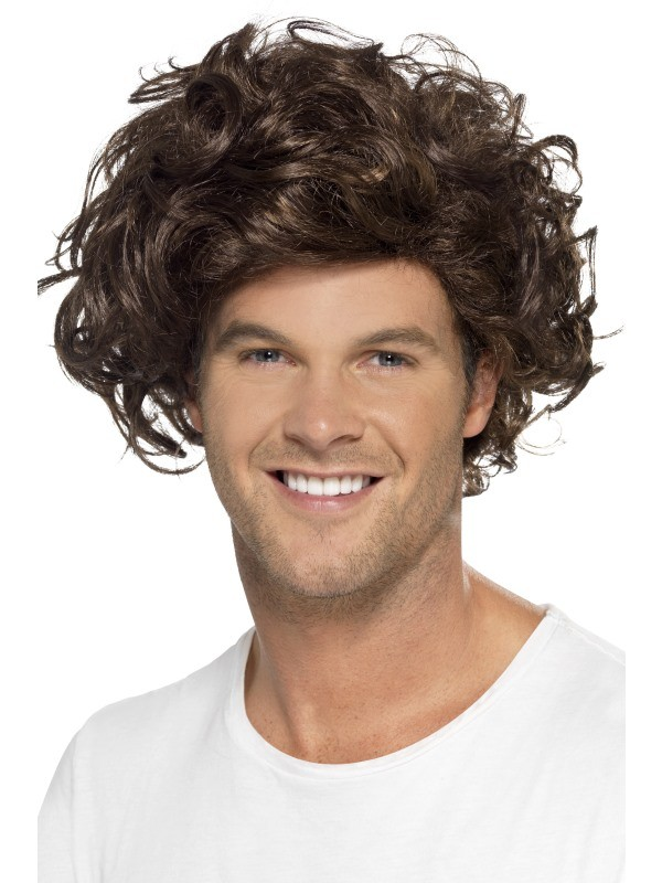 BOY BAND HEART THROB CURLY BROWN WIG