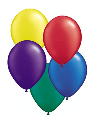 BALLOONS LATEX - 5 BRIGHTS PEARLISED/METALLIC PRO PACK OF 25