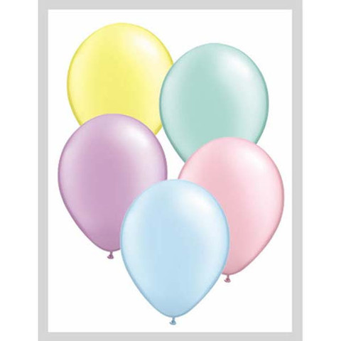 BALLOONS LATEX - PASTEL MIX PEARLISED/METALLIC PRO PACK OF 100