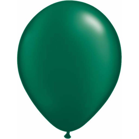 BALLOONS LATEX - FOREST GREEN PEARLISED/METALLIC PACK OF 25
