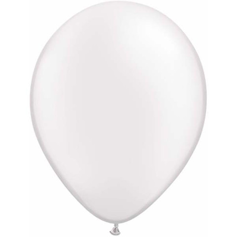 BALLOONS LATEX - WHITE PEARLISED PROFESSIONAL/METALLIC PACK 25