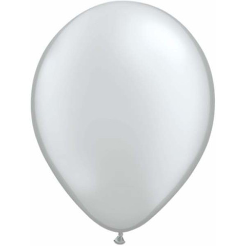 BALLOONS LATEX - SILVER PEARLISED/METALLIC PRO PACK OF 15