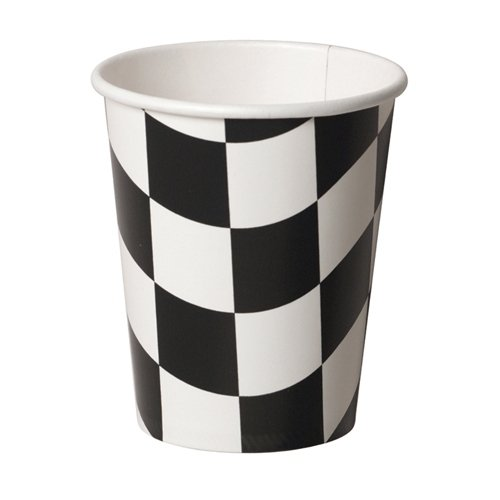 CHECKERED FLAG PAPER CUPS - PACK OF 8