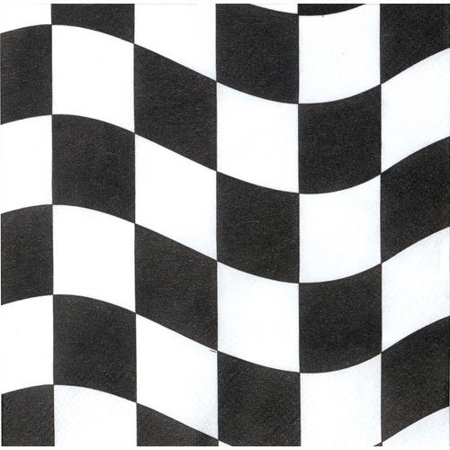 CHECKERED FLAG COCKTAIL NAPKINS - PACK OF 16