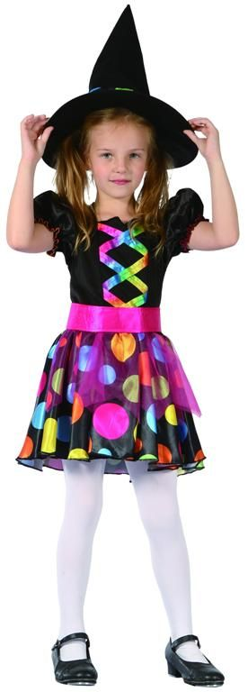CHILDS PRETTY RAINBOW SPOTTED WITCH COSTUME