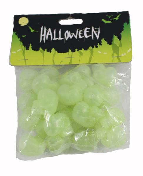BAG OF SMALL GLOW IN THE DARK SKULLS - PACK OF 24