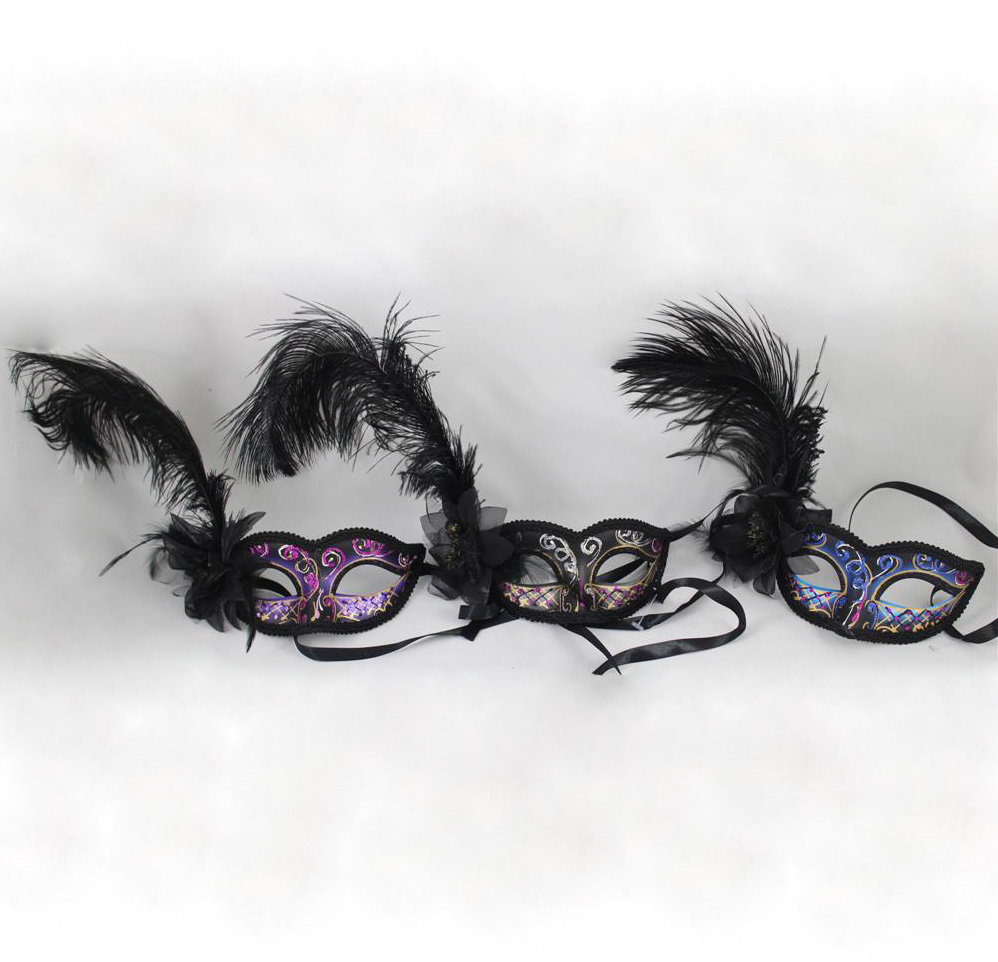 MASK - FEATHERED WITH BLACK FLOWER BOW IN ASSORTED COLOURS