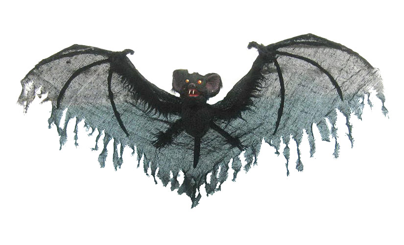 GIANT BLACK FLYING BAT WITH POSABLE TATTERED WINGS