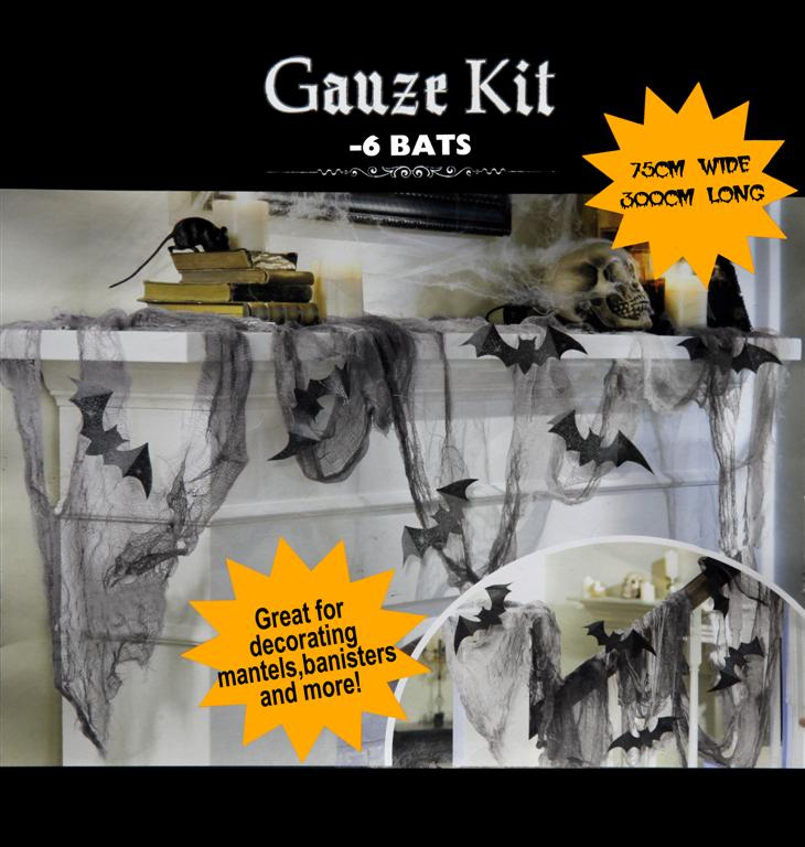 BATS & GAUZE CREEPY CLOTH DECORATING KIT WITH 6 BLACK BATS