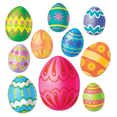 EASTER EGG CUT OUTS IN ASSORTED SIZES - PACK OF 10