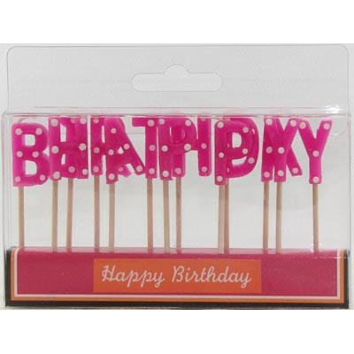 HAPPY BIRTHDAY PICK CANDLES - HOT PINK WHITE POLKA DOTS