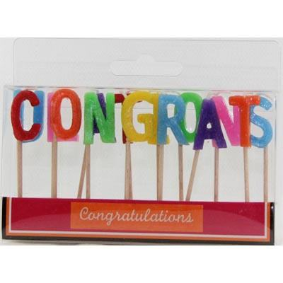 CONGRATULATONS PICK CANDLES - MULTI COLOURED