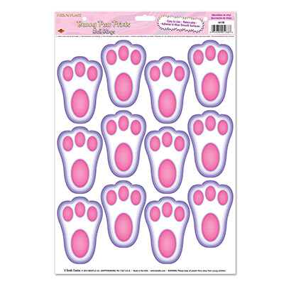 EASTER BUNNY PAW PRINTS PEEL & PLACE - PACK OF 12