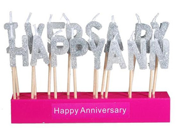 HAPPY ANNIVERSARY PICK CANDLES  SILVER