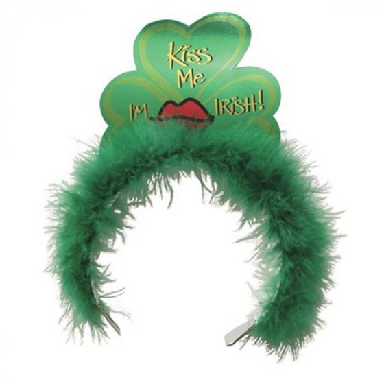 GREEN MARABOU & SHAMROCK \'KISS ME I\'M IRISH\' TIARA