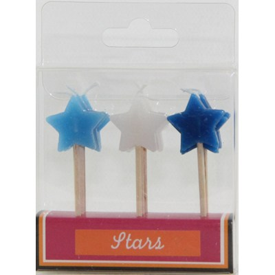 STAR PICK CANDLE - AZURE, WHITE & SAPPHIRE - PACK 9