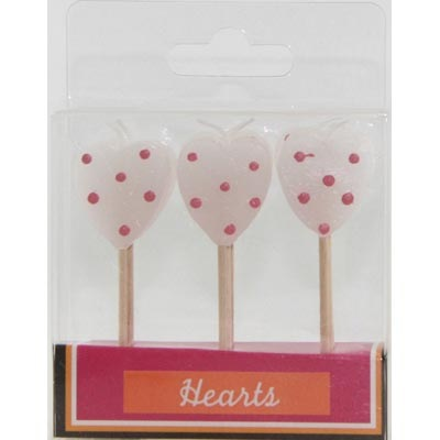 HEART PICK CANDLES - WHITE & PINK POLKA DOTS PK 9