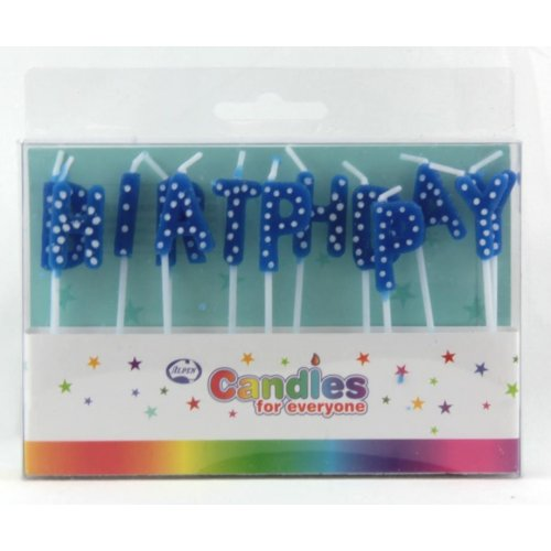 HAPPY BIRTHDAY PICK CANDLES - BLUE WHITE POLKA DOTS