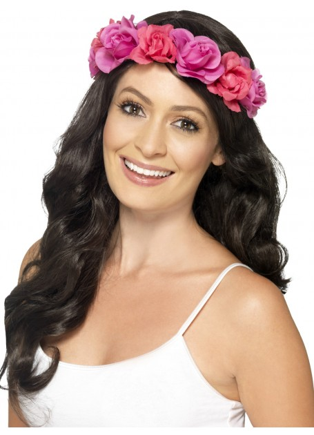 HAWAIIAN PINK FLOWER LUAU HEADBAND x 12 BULK BUY