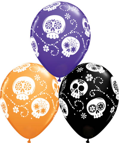 BALLOONS LATEX - DAY OF THE DEAD SUGAR SKULL PACK OF 6