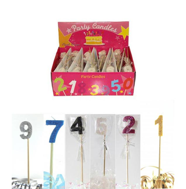 NUMERAL PICK CANDLES PEARL WHITE & 5 OTHER GLITTER COLOURS