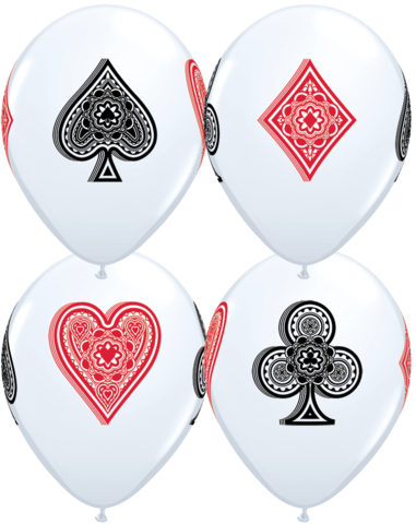 BALLOONS LATEX - CARD SUITS PACK OF 6
