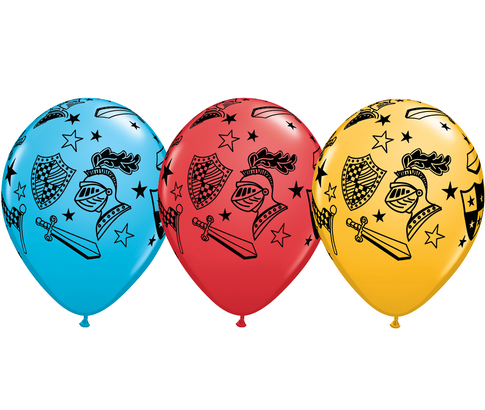 BALLOONS LATEX - MEDIEVAL KNIGHT & ARMOUR DESIGN - PACK OF 6