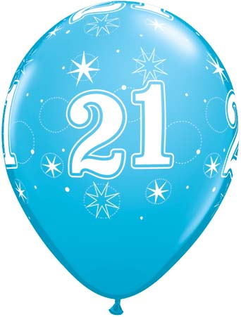 BALLOONS LATEX - 21ST BIRTHDAY ROBINS EGG BLUE SPARKLE - PACK 6