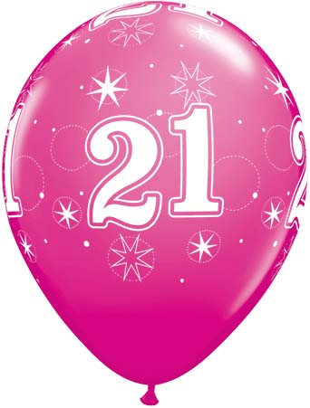 BALLOONS LATEX - 21ST BIRTHDAY WILD BERRY SPARKLE - PACK 6