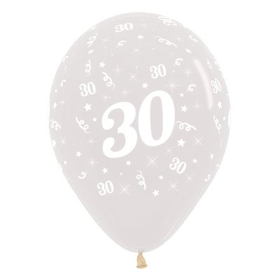 BALLOONS LATEX - 30TH BIRTHDAY DIAMOND CLEAR PACK 25