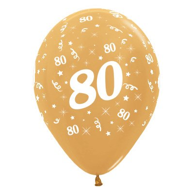 BALLOONS LATEX - 80TH BIRTHDAY METALLIC GOLD PACK 25