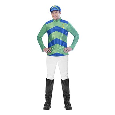 MELBOURNE CUP MENS JOCKEY COSTUME - BLUE & MINT GREEN
