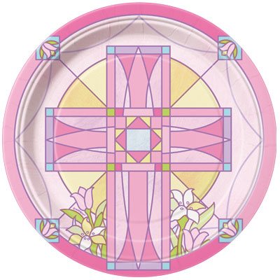SACRED CROSS PINK - DINNER PLATES PACK OF 8