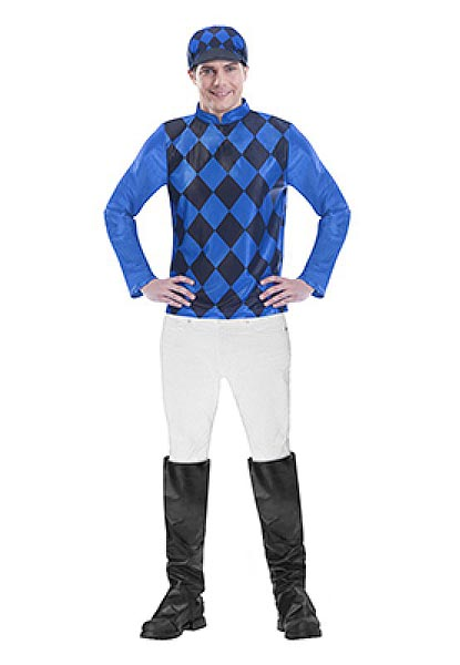 MELBOURNE CUP MENS JOCKEY COSTUME - BLUE & BLACK