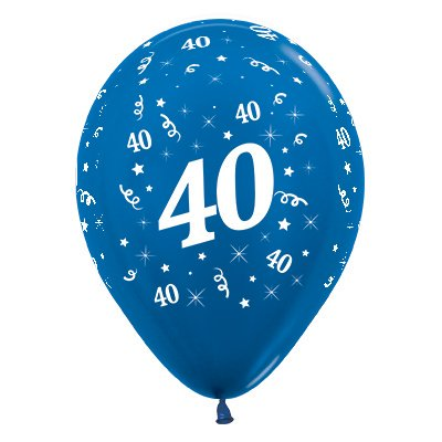 BALLOONS LATEX - 40TH BIRTHDAY METALLIC BLUE PACK 25