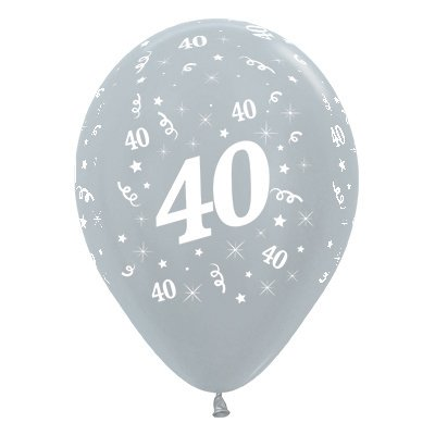 BALLOONS LATEX - 40TH BIRTHDAY SILVER PACK 25