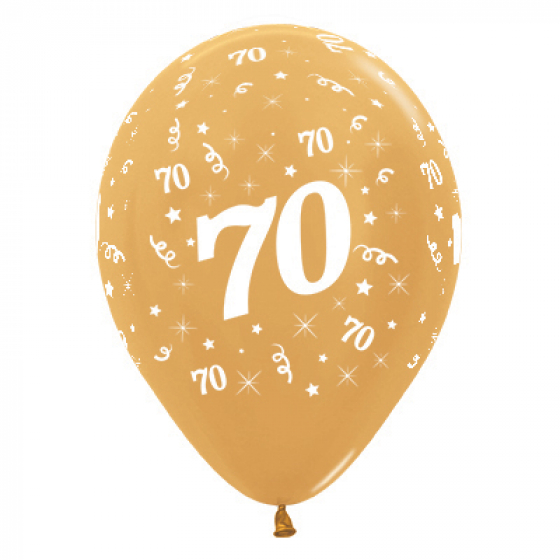 BALLOONS LATEX - 70TH BIRTHDAY METALLIC GOLD PACK 25