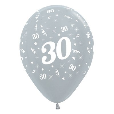 BALLOONS LATEX - 30TH BIRTHDAY SILVER PACK 25