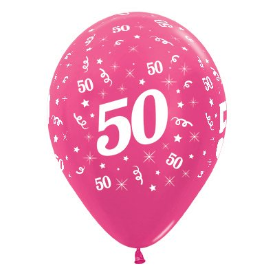 BALLOONS LATEX - 50TH BIRTHDAY METALLIC FUSHIA PACK 25