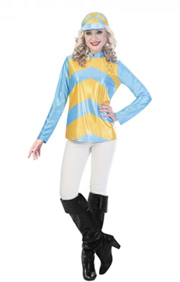 MELBOURNE CUP LADIES JOCKEY COSTUME - SKY BLUE & YELLOW