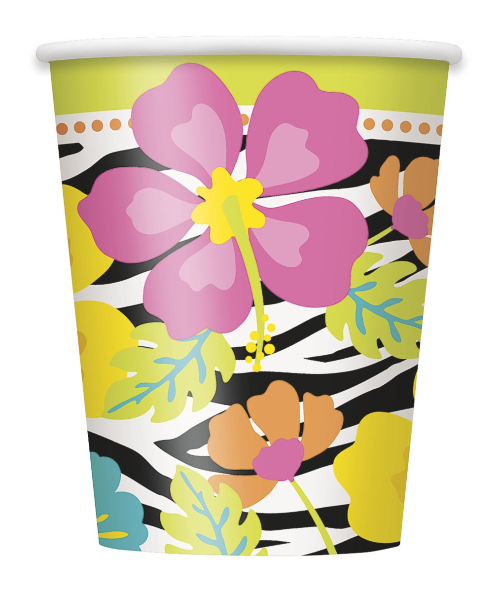 WILD LUAU PAPER CUPS - PACK OF 8