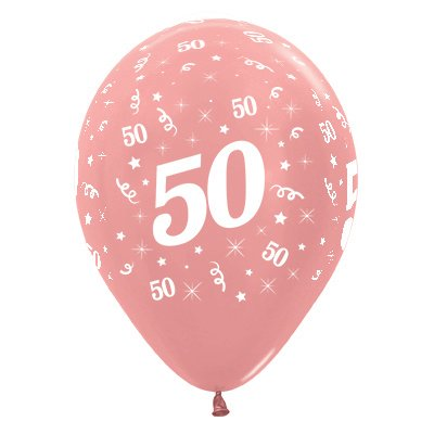 BALLOONS LATEX - 50TH BIRTHDAY METALLIC ROSE GOLD PACK 25