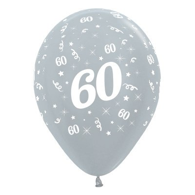 BALLOONS LATEX - 60TH BIRTHDAY SILVER PACK 25