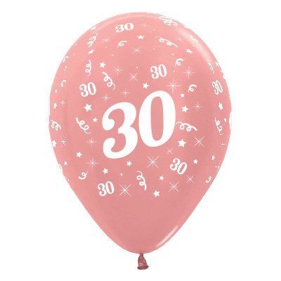 BALLOONS LATEX - 30TH BIRTHDAY METALLIC ROSE GOLD PACK 25